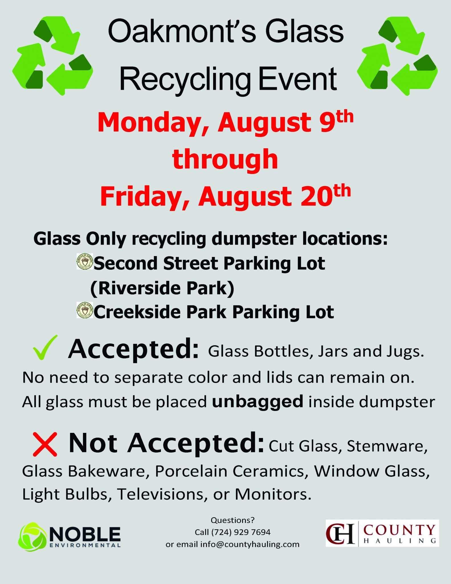 Oakmont Glass Recycling Event 8.9.21